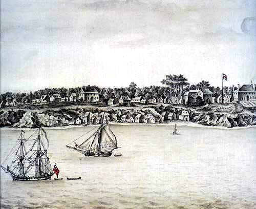 Drawing of Yorktown, Virginia 1755