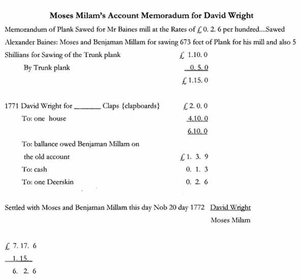 Moses Bill for David Wright 1773