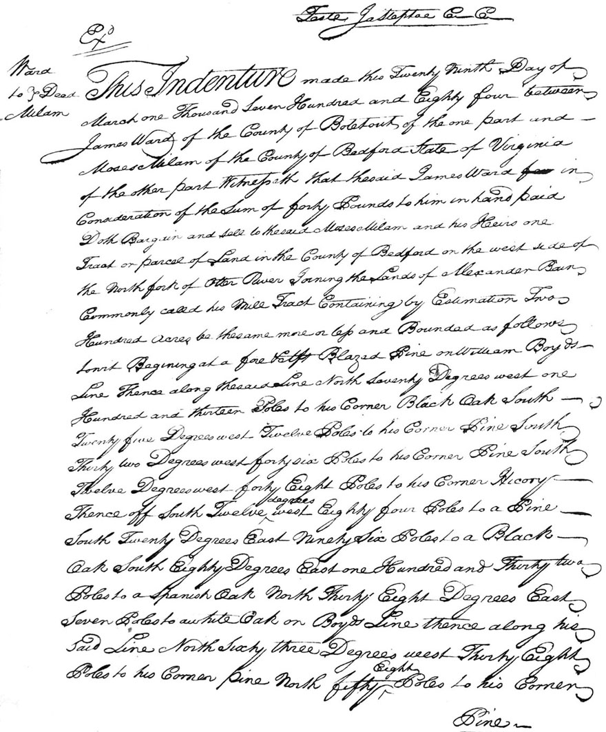 Moses Milam Purchase Deed 29 MAR 1784