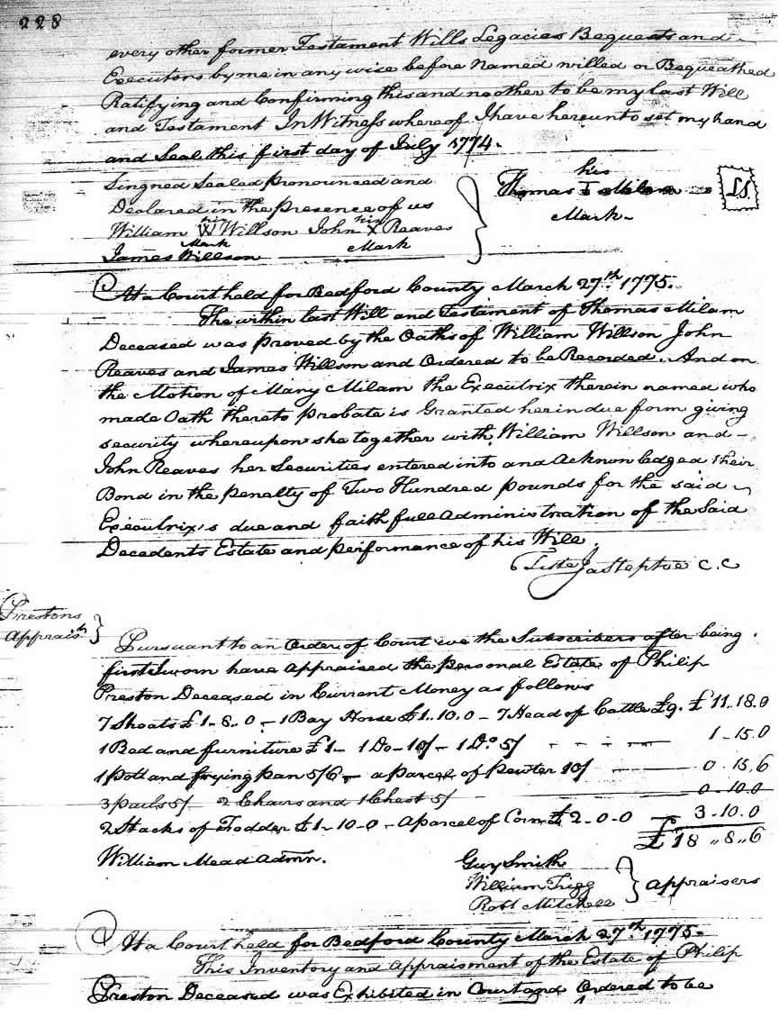 Image of Thomas Milam's Will, page 228